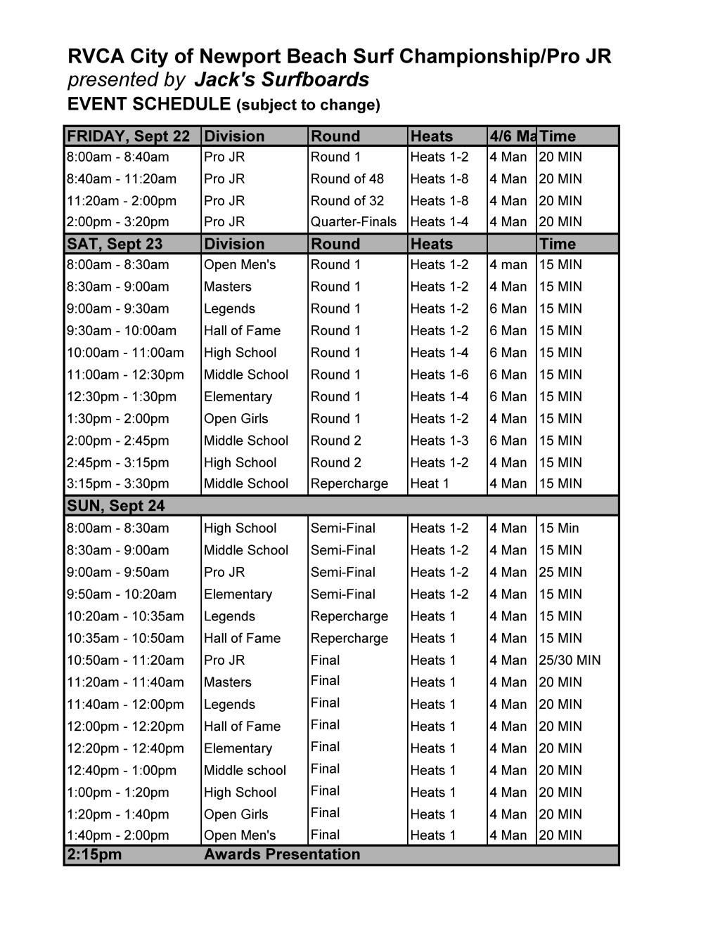 RVCA NB Draft Schedule