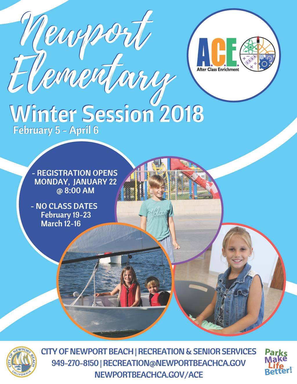 Newport Elementary ACE Holiday Session Brochure Cover