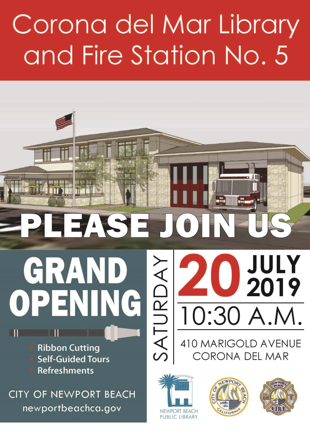CcM Library and Fire Station No. 5, please join us, grand opening, Saturday, July 20, 2019, 10:30 a.m., 410 Marigold Avenue